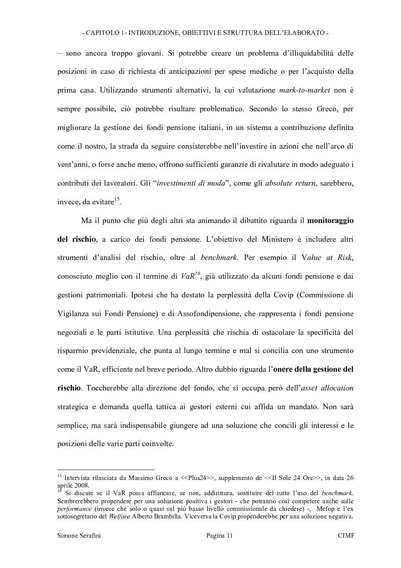 Anteprima della tesi: La riforma dei limiti agli investimenti dei fondi pensione in Italia. Obiettivi e prospettive in seguito alla consultazione effettuata dal Ministero del Tesoro, Pagina 11