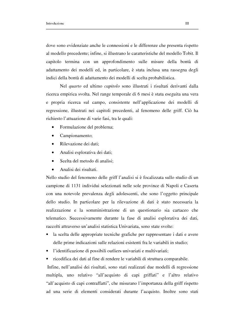 Anteprima della tesi: Un modello di regressione multinomiale per l'analisi delle motivazioni d'acquisto: il caso dei prodotti griffati, Pagina 3
