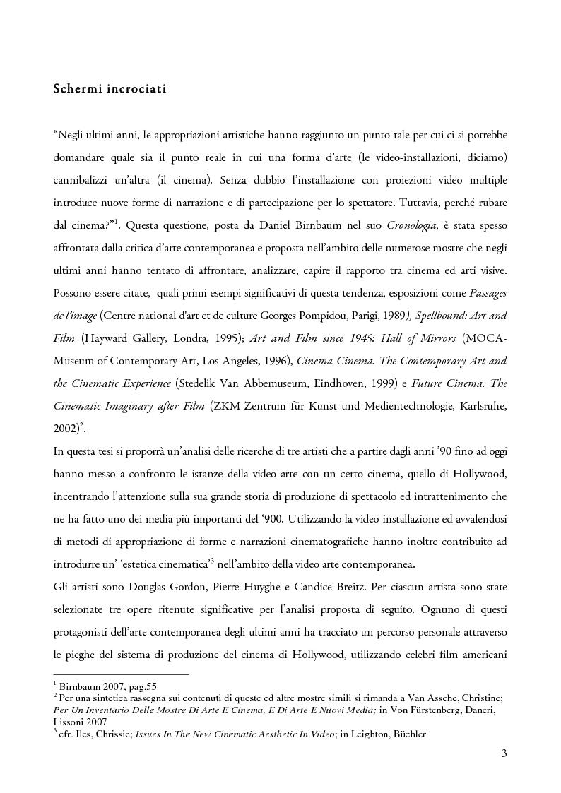 Anteprima della tesi: Schermi incrociati. Hollywood nelle opere di Douglas Gordon, Pierre Huyghe e Candice Breitz, Pagina 1