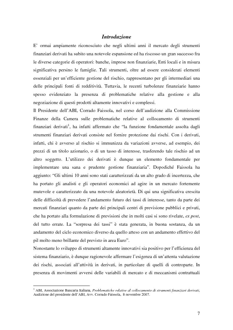 Anteprima della tesi: La trasparenza bancaria nel collocamento degli strumenti finanziari derivati, Pagina 1