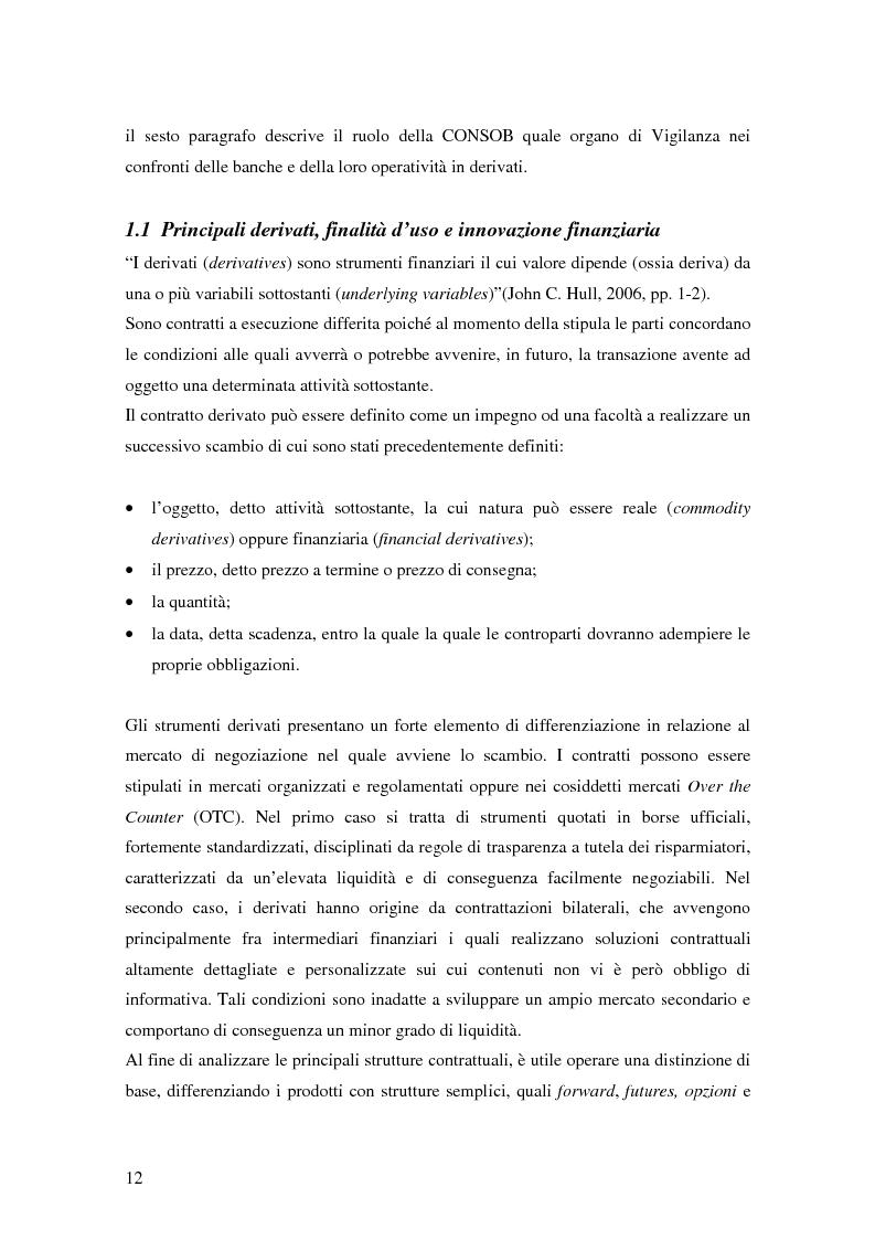 Anteprima della tesi: La trasparenza bancaria nel collocamento degli strumenti finanziari derivati, Pagina 6