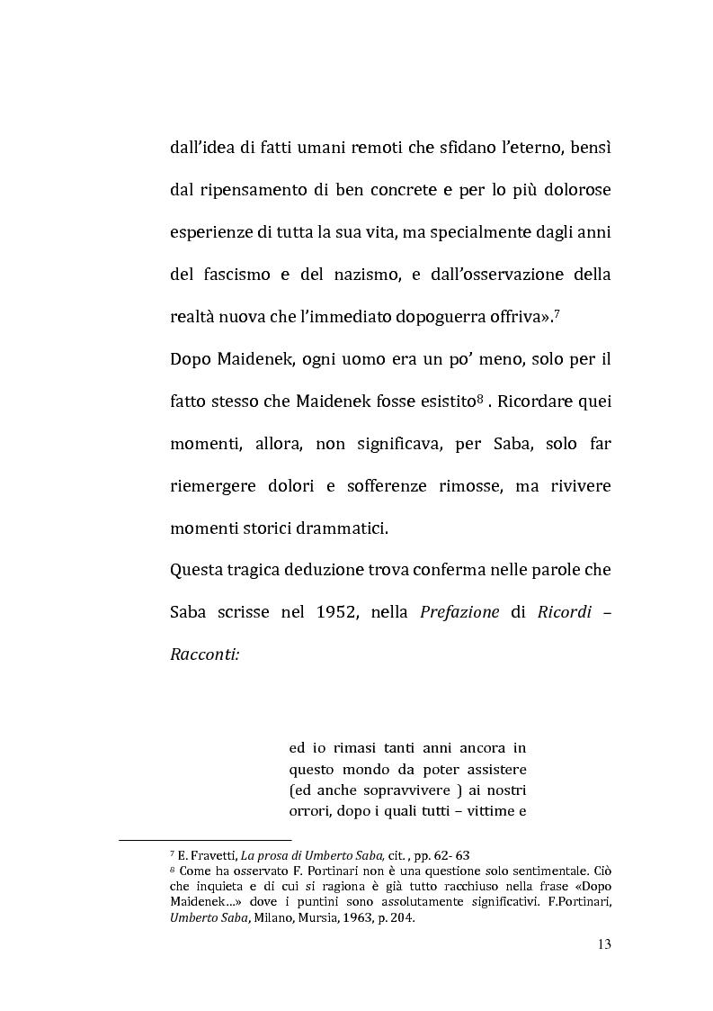Anteprima della tesi: Il ricordo come racconto: l'altro Saba, Pagina 10