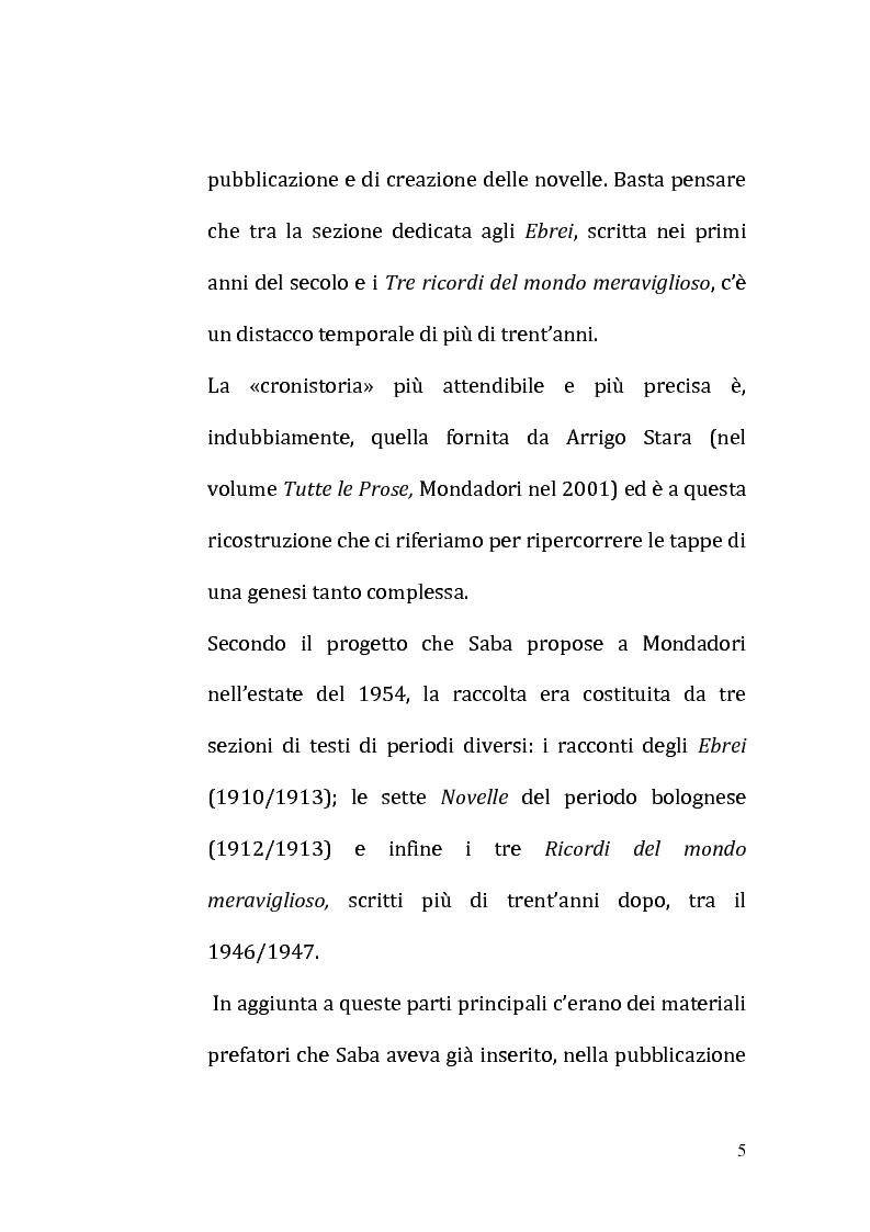 Anteprima della tesi: Il ricordo come racconto: l'altro Saba, Pagina 2