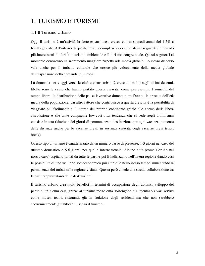 Anteprima della tesi: Il turismo urbano e la destinazione Berlino, Pagina 3