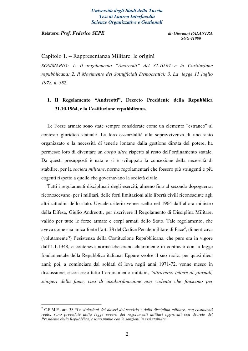 Anteprima della tesi: La Rappresentanza Militare e le relative proposte di riforma, Pagina 2