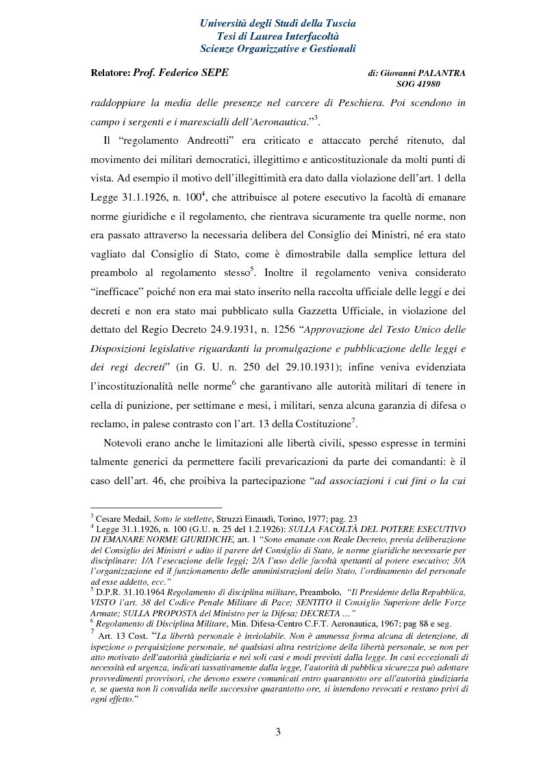 Anteprima della tesi: La Rappresentanza Militare e le relative proposte di riforma, Pagina 3