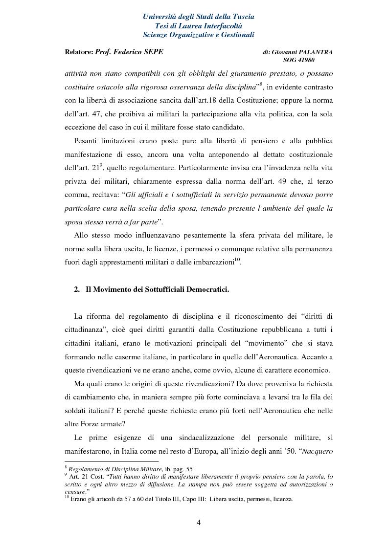 Anteprima della tesi: La Rappresentanza Militare e le relative proposte di riforma, Pagina 4