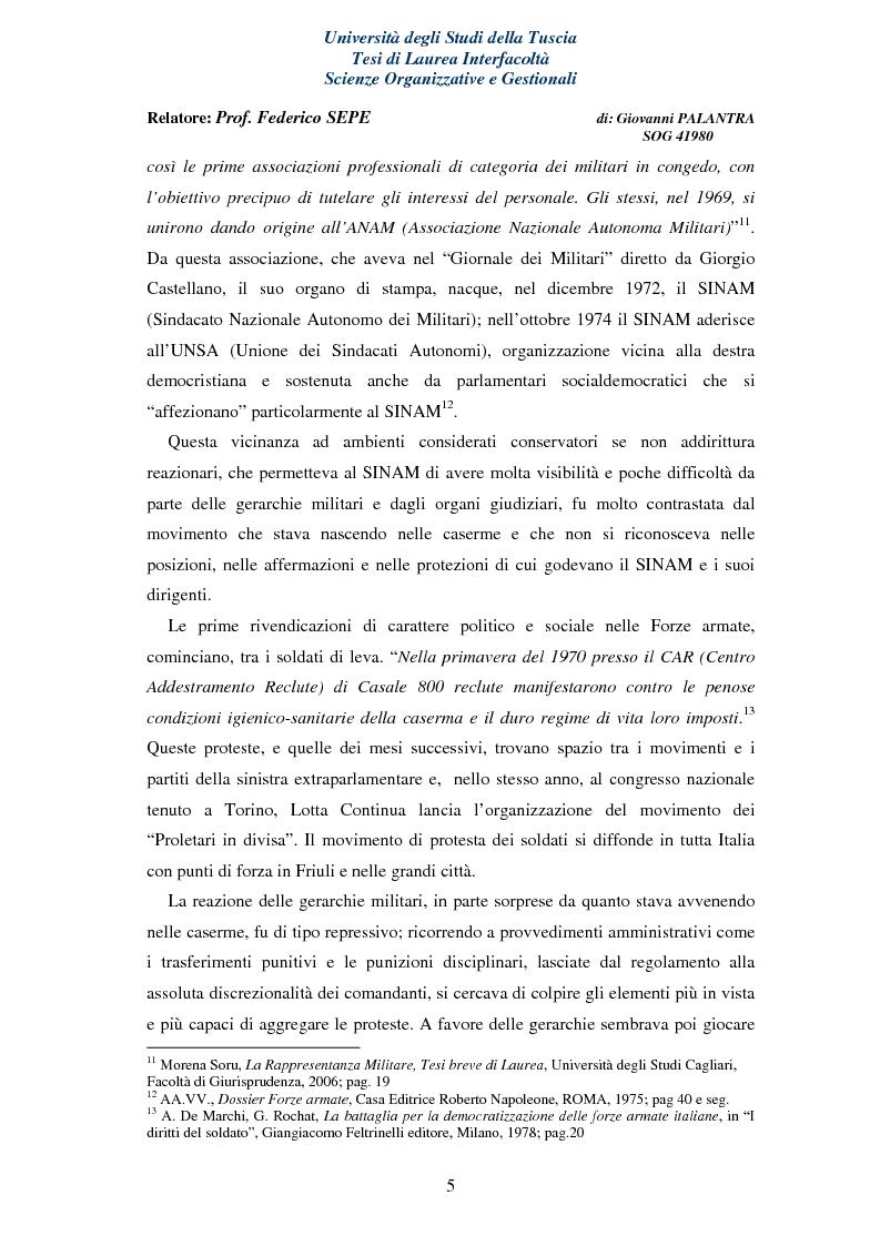 Anteprima della tesi: La Rappresentanza Militare e le relative proposte di riforma, Pagina 5