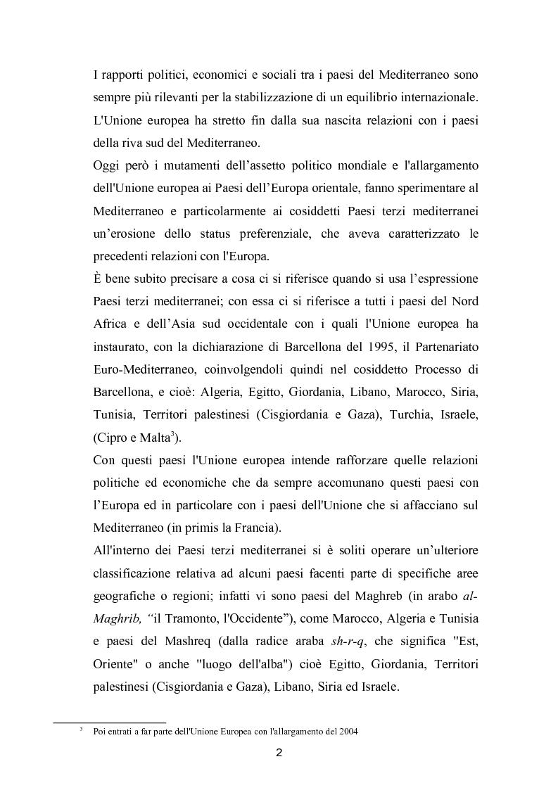 Anteprima della tesi: La politica mediterranea dell'Unione europea, Pagina 2