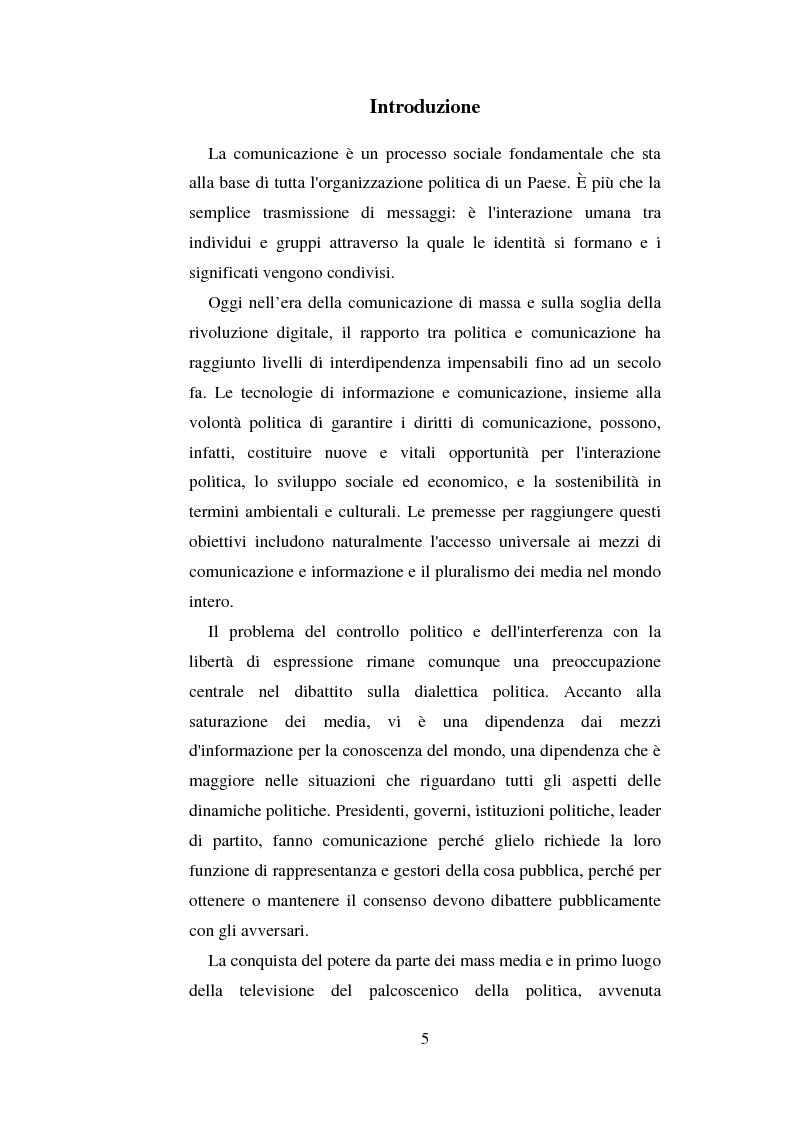 Anteprima della tesi: La comunicazione politica e l'informazione-spettacolo, Pagina 1