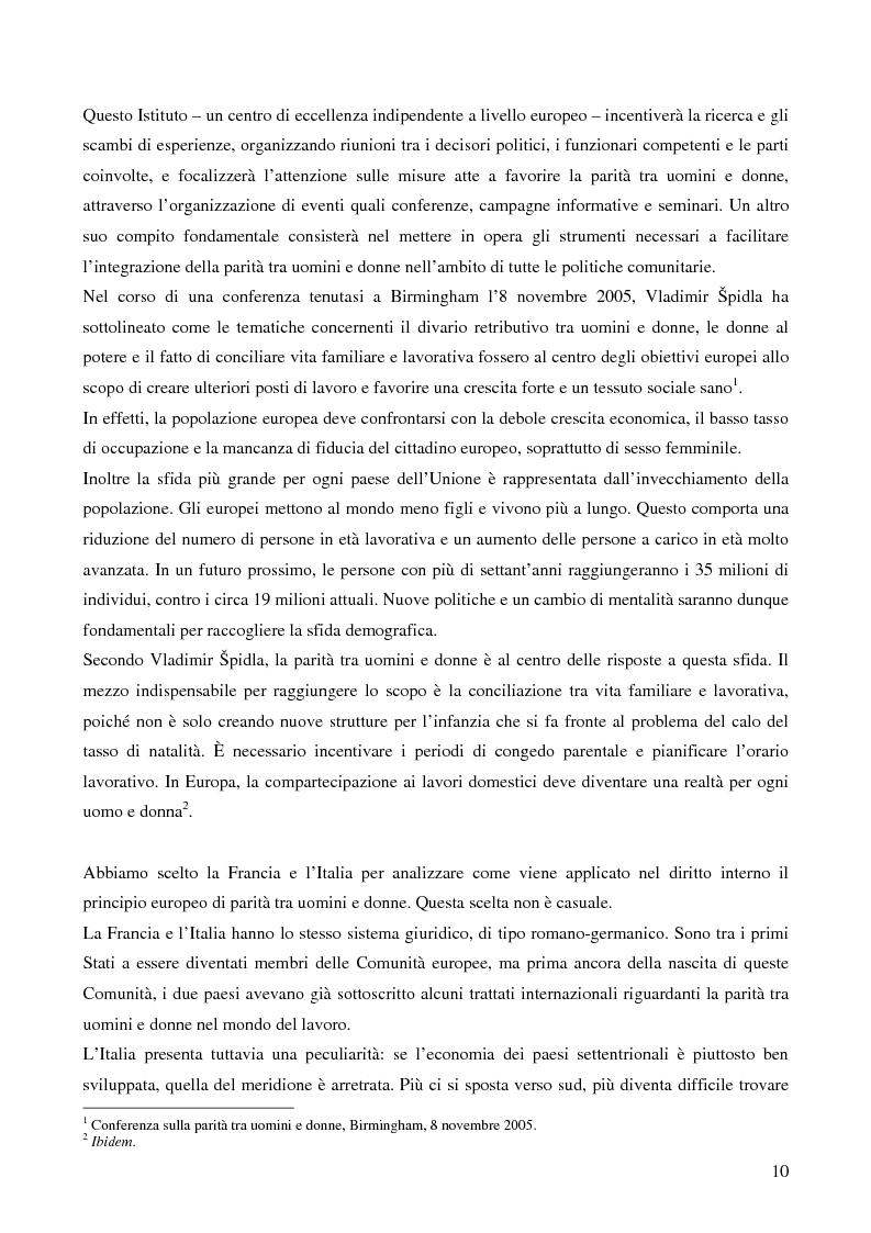 Anteprima della tesi: L'applicazione da parte della Francia e dell'Italia del principio europeo della parità tra uomini e donne in materia di lavoro, Pagina 2