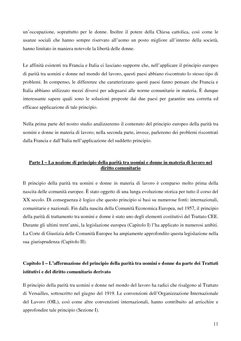 Anteprima della tesi: L'applicazione da parte della Francia e dell'Italia del principio europeo della parità tra uomini e donne in materia di lavoro, Pagina 3