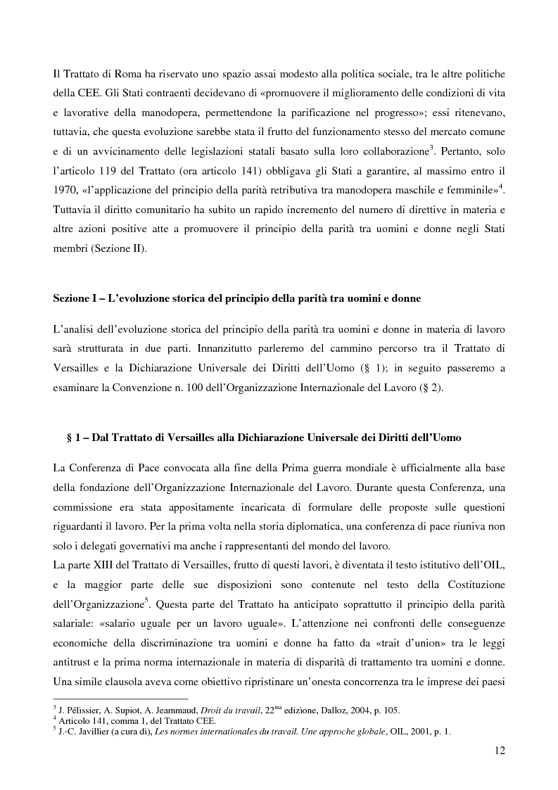 Anteprima della tesi: L'applicazione da parte della Francia e dell'Italia del principio europeo della parità tra uomini e donne in materia di lavoro, Pagina 4
