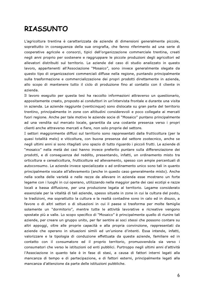Anteprima della tesi: Le piccole aziende nell'agricoltura di montagna: ''Mosaico'', associazione di piccoli produttori del Trentino, Pagina 1