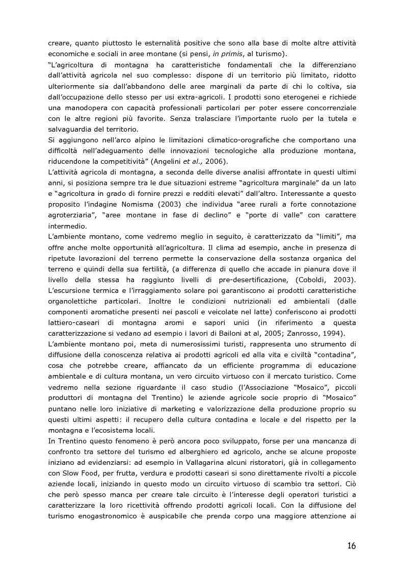 Anteprima della tesi: Le piccole aziende nell'agricoltura di montagna: ''Mosaico'', associazione di piccoli produttori del Trentino, Pagina 11