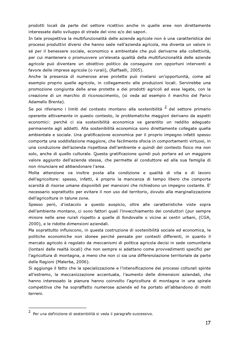 Anteprima della tesi: Le piccole aziende nell'agricoltura di montagna: ''Mosaico'', associazione di piccoli produttori del Trentino, Pagina 12