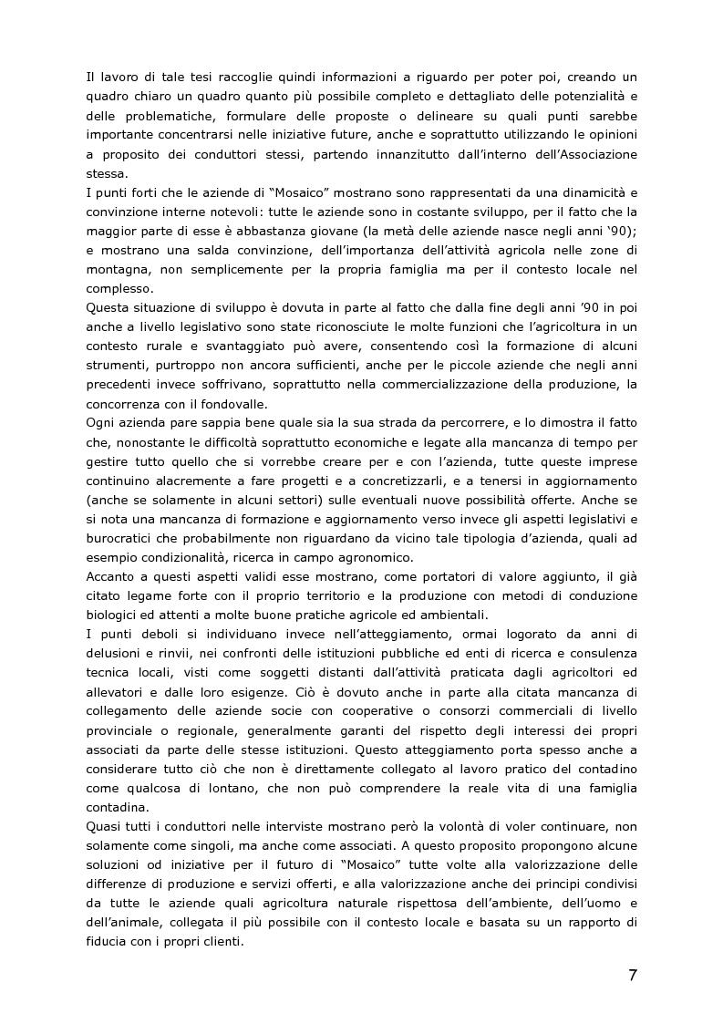 Anteprima della tesi: Le piccole aziende nell'agricoltura di montagna: ''Mosaico'', associazione di piccoli produttori del Trentino, Pagina 2