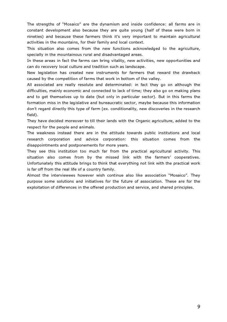 Anteprima della tesi: Le piccole aziende nell'agricoltura di montagna: ''Mosaico'', associazione di piccoli produttori del Trentino, Pagina 4