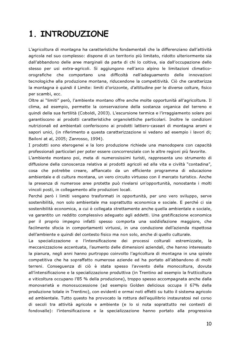 Anteprima della tesi: Le piccole aziende nell'agricoltura di montagna: ''Mosaico'', associazione di piccoli produttori del Trentino, Pagina 5