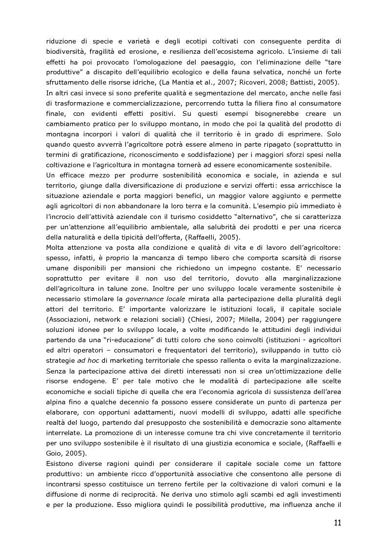 Anteprima della tesi: Le piccole aziende nell'agricoltura di montagna: ''Mosaico'', associazione di piccoli produttori del Trentino, Pagina 6