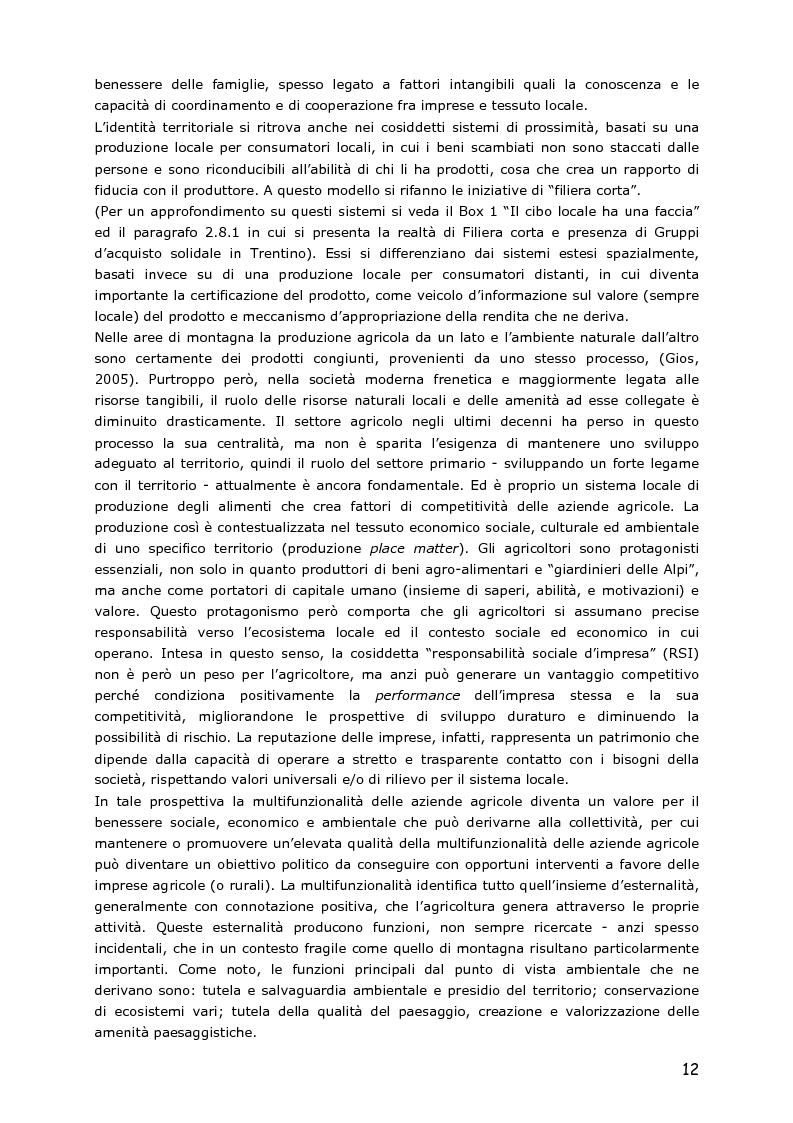Anteprima della tesi: Le piccole aziende nell'agricoltura di montagna: ''Mosaico'', associazione di piccoli produttori del Trentino, Pagina 7