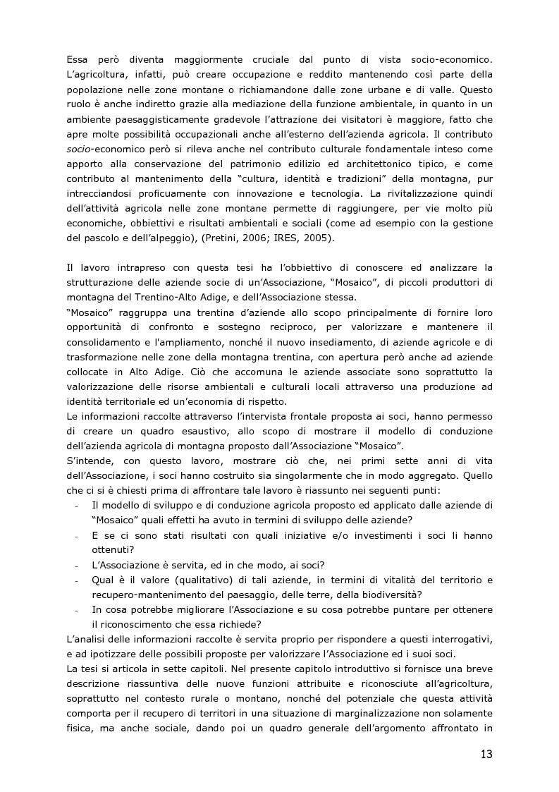 Anteprima della tesi: Le piccole aziende nell'agricoltura di montagna: ''Mosaico'', associazione di piccoli produttori del Trentino, Pagina 8