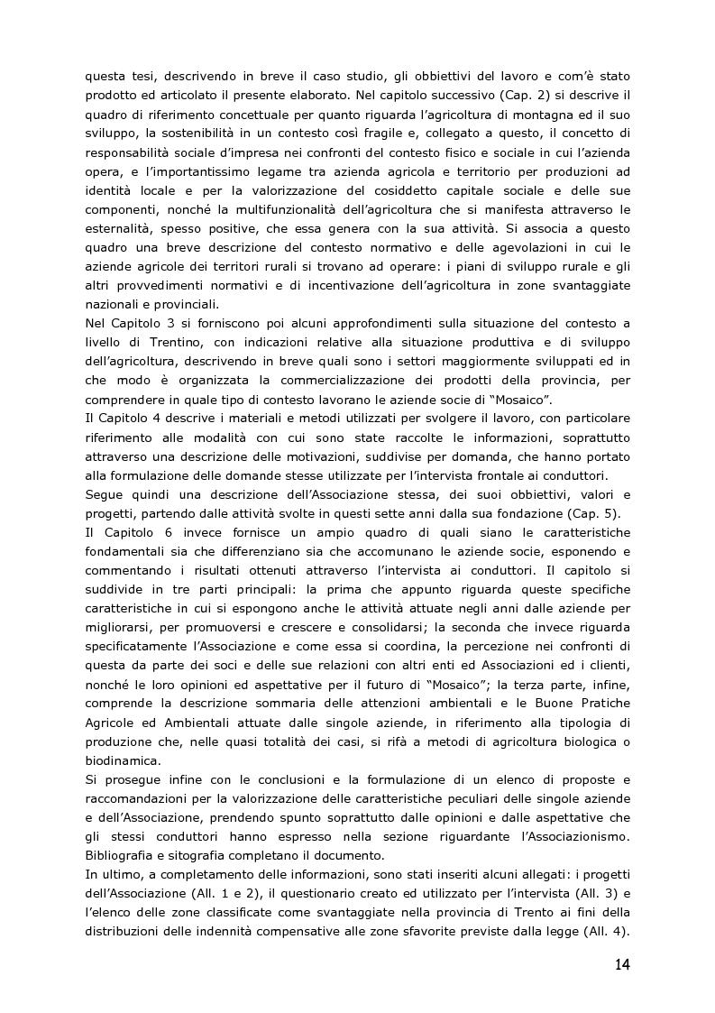 Anteprima della tesi: Le piccole aziende nell'agricoltura di montagna: ''Mosaico'', associazione di piccoli produttori del Trentino, Pagina 9