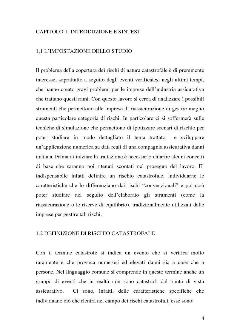 Anteprima della tesi: La riassicurazione per il rischio catastrofale: un approccio stocastico alle coperture terremoto del mercato italiano, Pagina 1