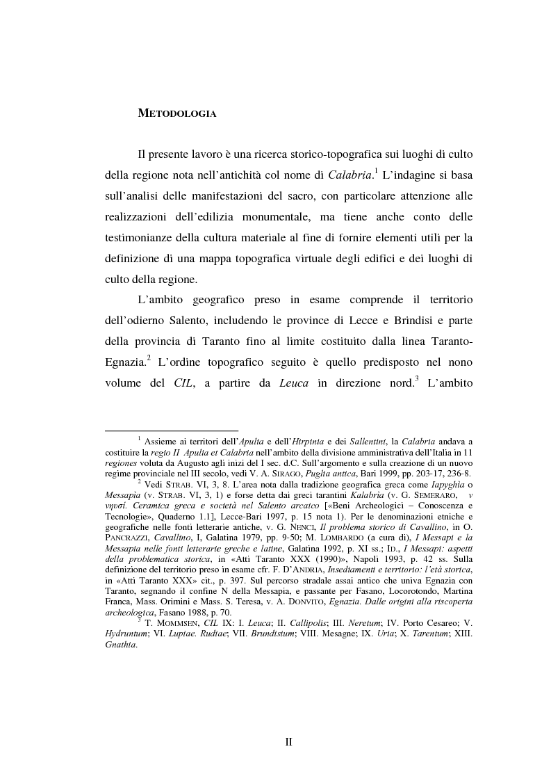Anteprima della tesi: Gli spazi del culto nel Salento antico, Pagina 1