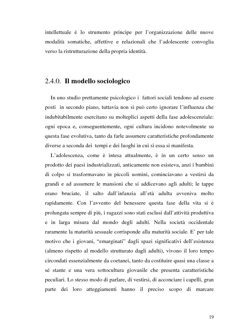 Anteprima della tesi: Adolescenza e ''adolescenze estreme'' - Viaggio attraverso il disagio adolescenziale, Pagina 14