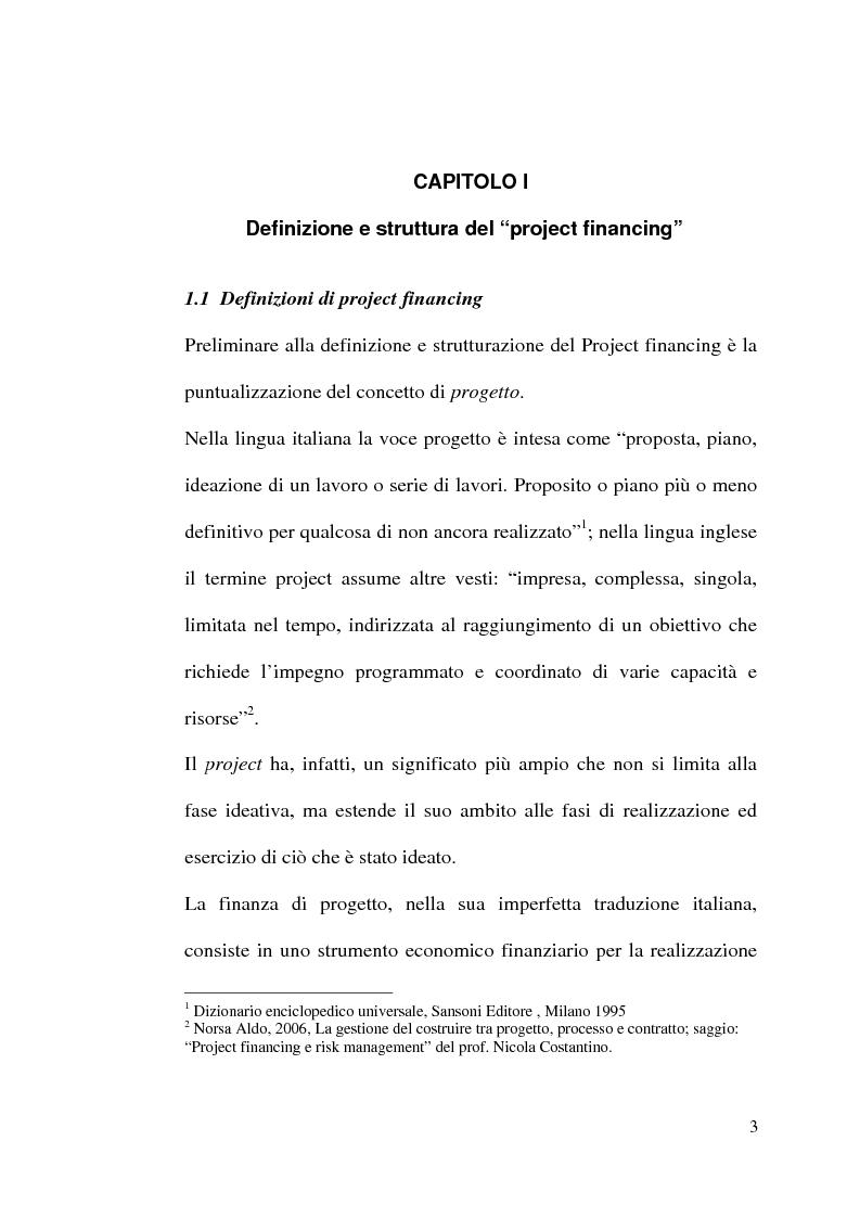 Anteprima della tesi: Il project financing nella realizzazione di opere pubbliche e il caso della città di Alberobello, Pagina 1