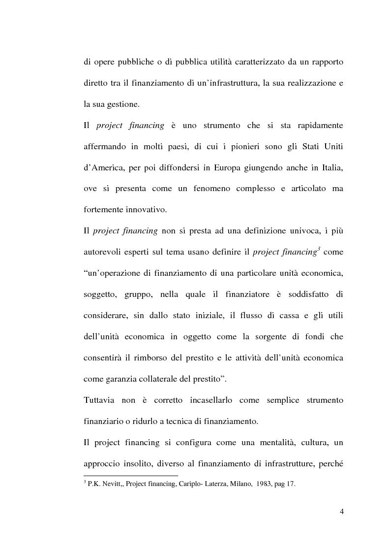 Anteprima della tesi: Il project financing nella realizzazione di opere pubbliche e il caso della città di Alberobello, Pagina 2
