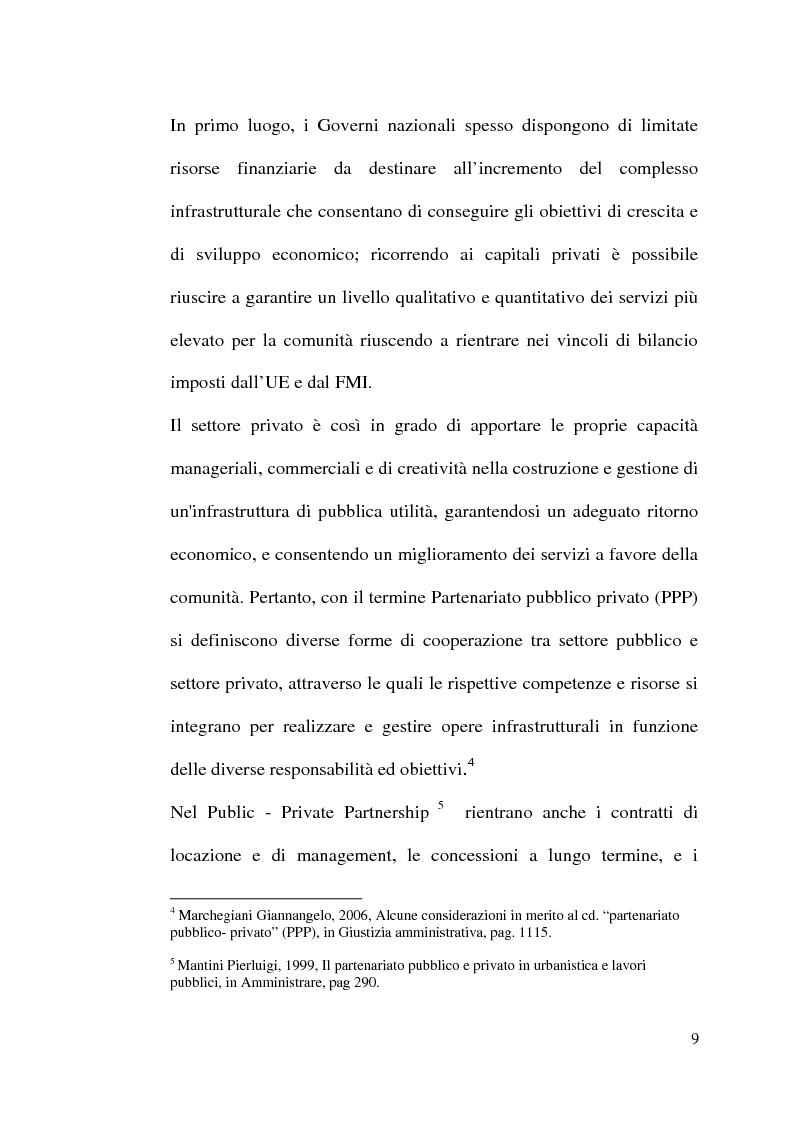 Anteprima della tesi: Il project financing nella realizzazione di opere pubbliche e il caso della città di Alberobello, Pagina 7