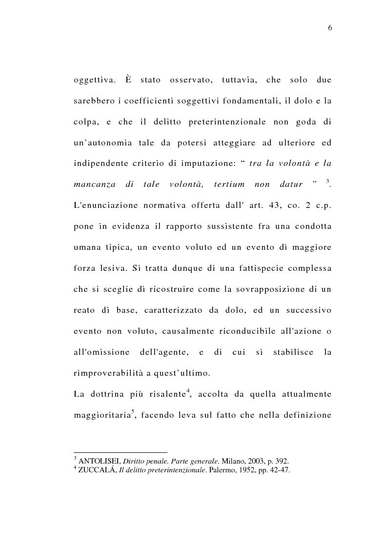 Anteprima della tesi: Il delitto preterintenzionale, Pagina 4