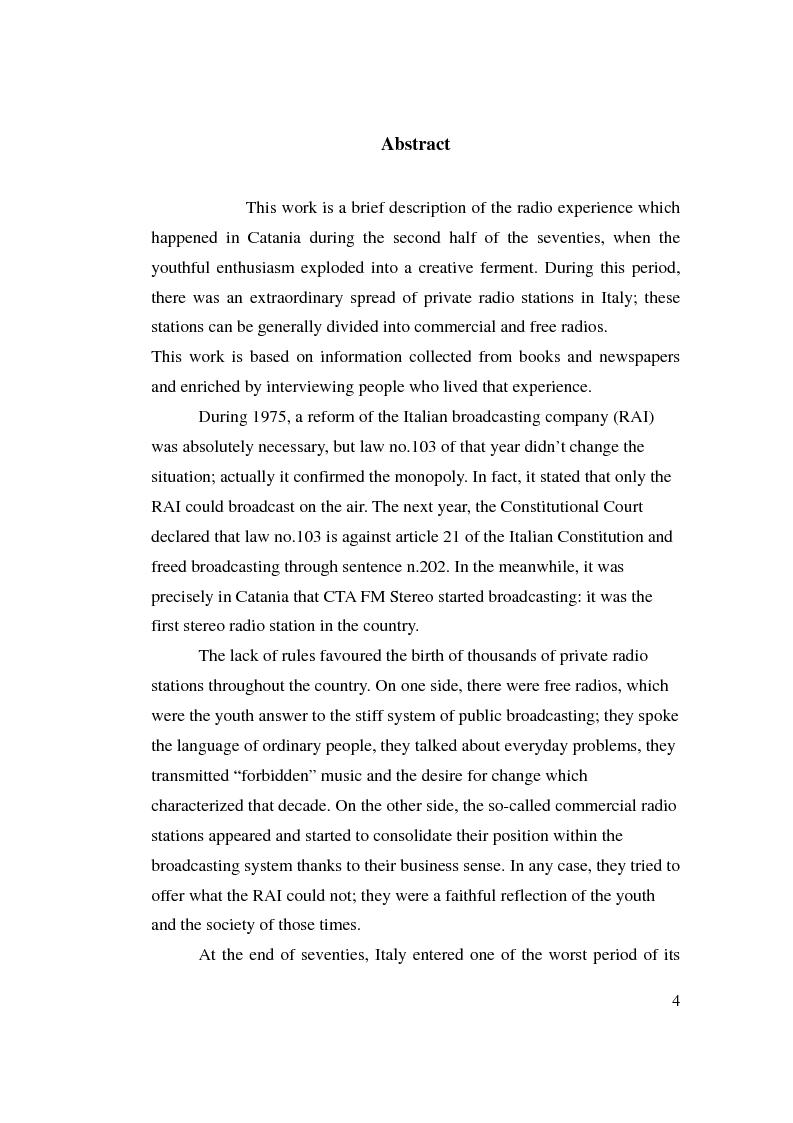 Anteprima della tesi: La stagione dell'indipendenza: CTA FM Stereo e le sue sorelle, Pagina 1
