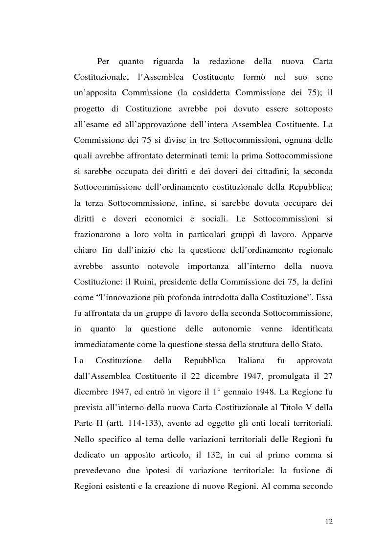 Anteprima della tesi: Le variazioni territoriali delle Regioni, Pagina 12
