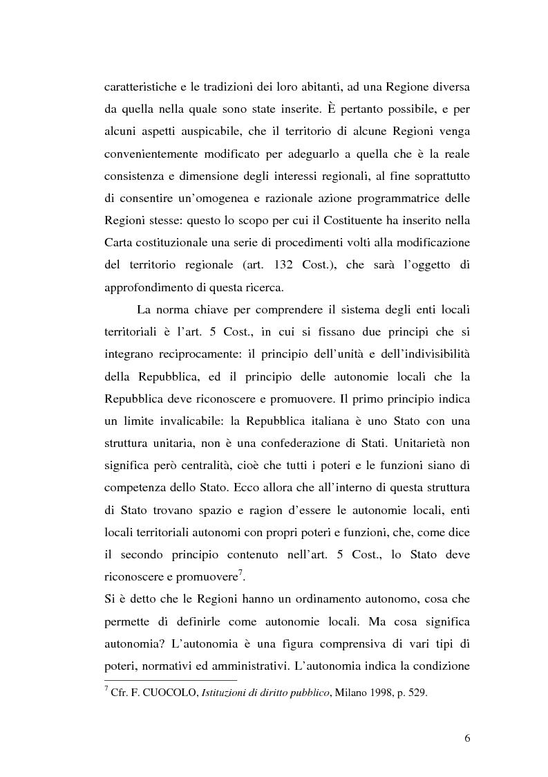 Anteprima della tesi: Le variazioni territoriali delle Regioni, Pagina 6