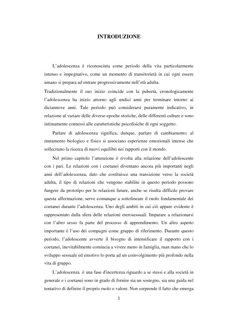 Adolescenza: relazioni fra pari e comportamenti a rischio - Tesi di Laurea