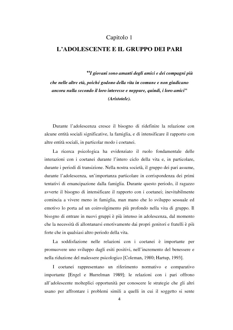 Anteprima della tesi: Adolescenza: relazioni fra pari e comportamenti a rischio, Pagina 4