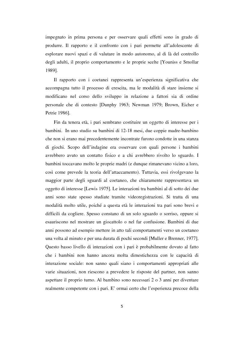 Anteprima della tesi: Adolescenza: relazioni fra pari e comportamenti a rischio, Pagina 5