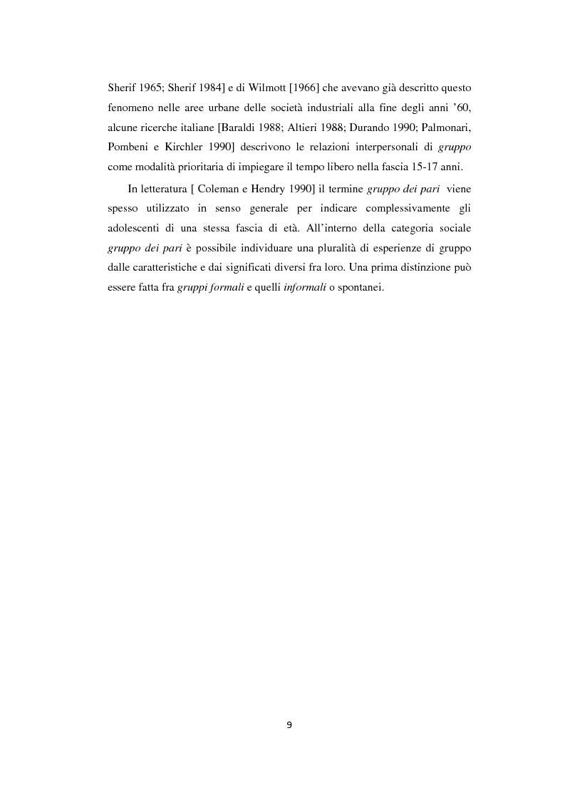 Anteprima della tesi: Adolescenza: relazioni fra pari e comportamenti a rischio, Pagina 9