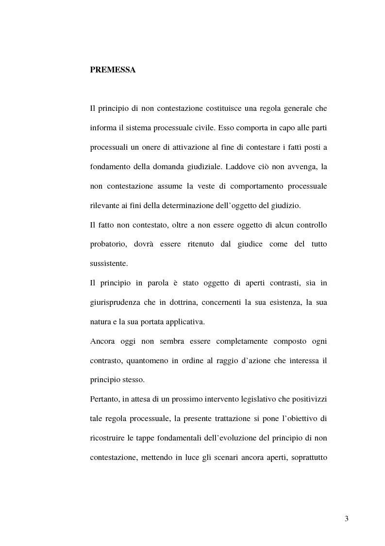 Anteprima della tesi: Profili evolutivi del principio di non contestazione nel processo civile, Pagina 1