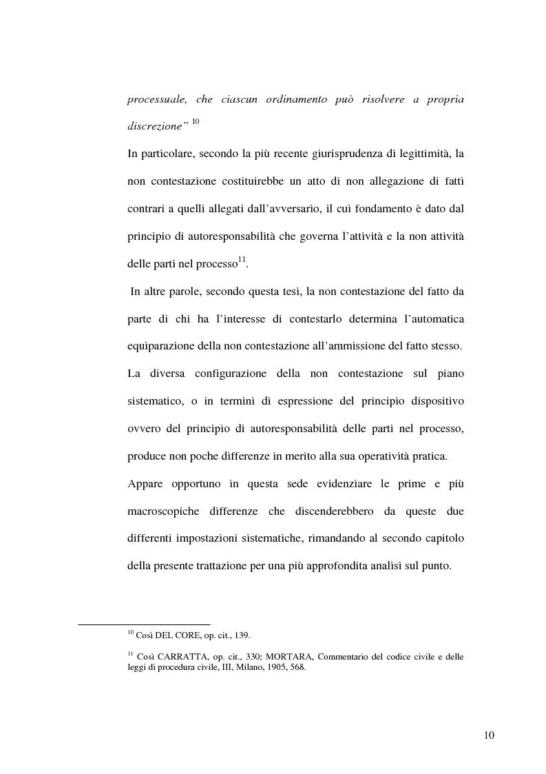 Anteprima della tesi: Profili evolutivi del principio di non contestazione nel processo civile, Pagina 8