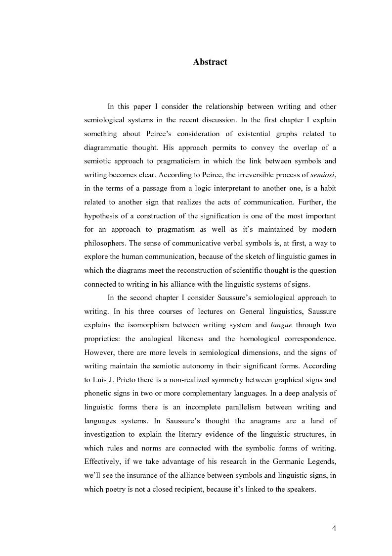 Anteprima della tesi: Simbolicità e scrittura. C. S. Peirce e F. de Saussure, logiche e limiti, Pagina 1