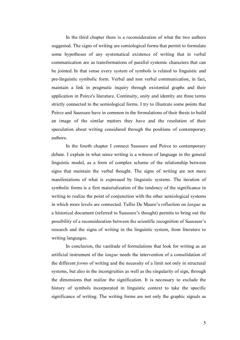 Anteprima della tesi: Simbolicità e scrittura. C. S. Peirce e F. de Saussure, logiche e limiti, Pagina 2