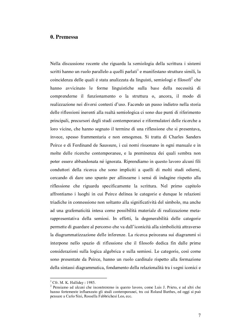 Anteprima della tesi: Simbolicità e scrittura. C. S. Peirce e F. de Saussure, logiche e limiti, Pagina 4