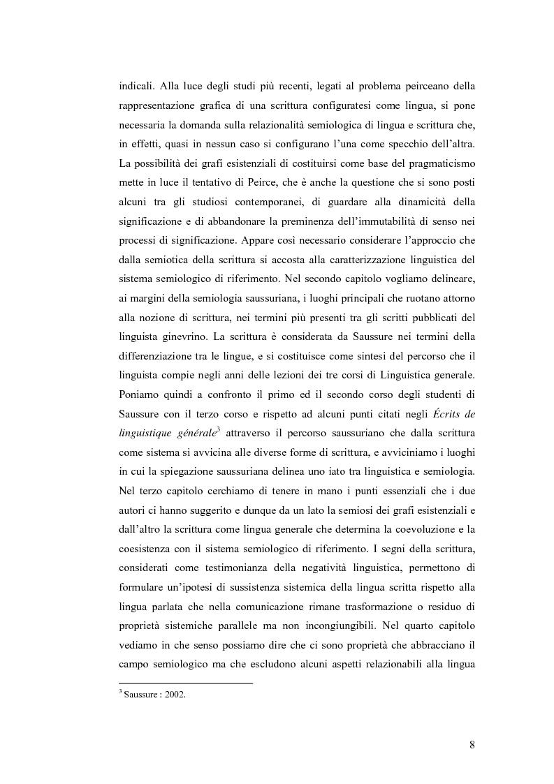 Anteprima della tesi: Simbolicità e scrittura. C. S. Peirce e F. de Saussure, logiche e limiti, Pagina 5
