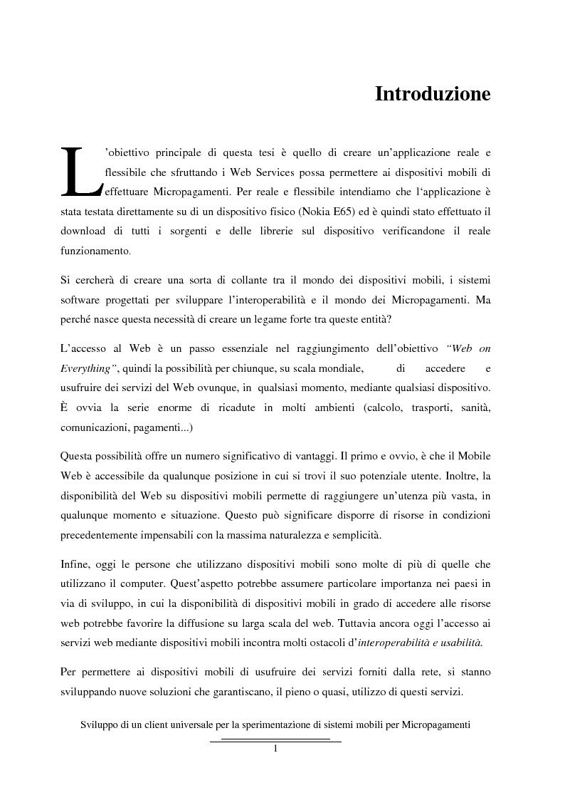 Anteprima della tesi: Sviluppo di un client universale per la sperimentazione di sistemi mobili per micropagamenti, Pagina 1