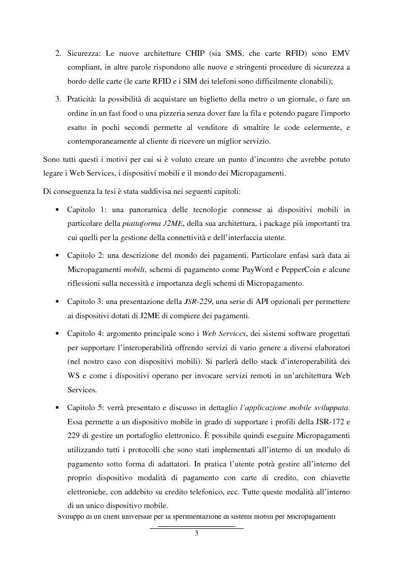 Anteprima della tesi: Sviluppo di un client universale per la sperimentazione di sistemi mobili per micropagamenti, Pagina 3