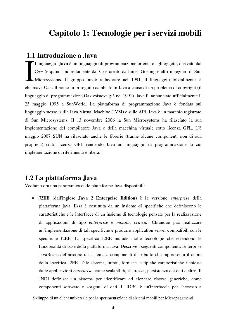 Anteprima della tesi: Sviluppo di un client universale per la sperimentazione di sistemi mobili per micropagamenti, Pagina 4